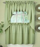 Ribcord Kitchen Curtain - Sage Green