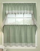 Salem Kitchen Curtain - Available in Black, Burgundy, Chocolate, Sage, Vanilla, Blue