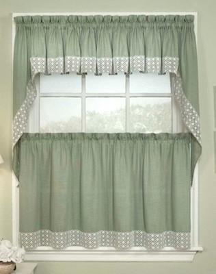 Salem Kitchen Curtain - Available in Black, Burgundy, Chocolate, Sage, Vanilla, Blue