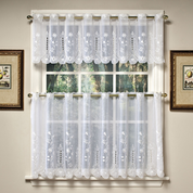 Samantha white embroidered kitchen curtain