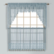 Valerie Macrame Kitchen Curtain - Blue