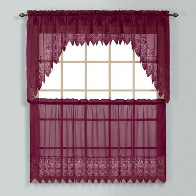 Valerie Macrame Kitchen Curtain - Burgundy