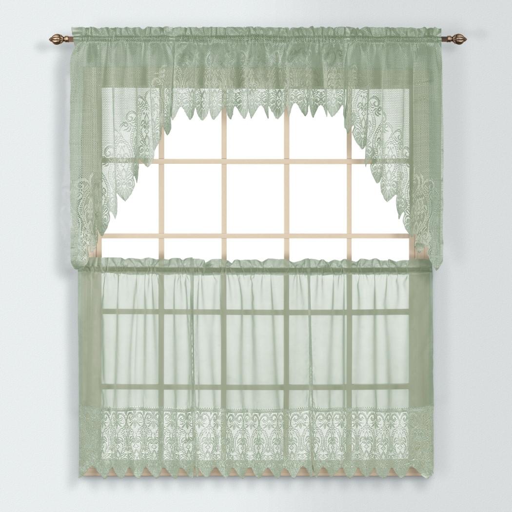 Valerie Macrame Kitchen Curtain Sage Linens4less Com