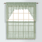 Valerie Macrame Kitchen Curtain - Sage