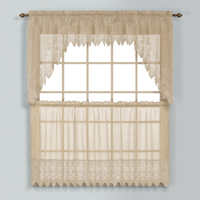 Valerie Macrame Kitchen Curtain - Taupe