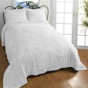 Rio cotton Chenille Bedspread in White
