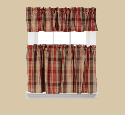 Cooper Plaid Kitchen Curtain - Red