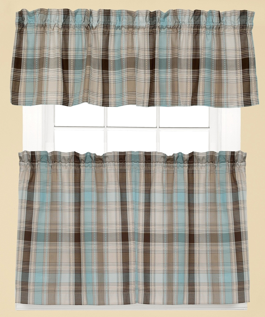 Cooper Plaid Kitchen Curtain Blue Linens4less Com