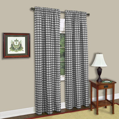Buffalo Check Rod Pocket Curtain Panel - Black