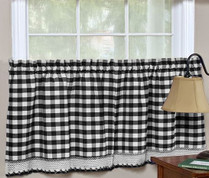 "Buffalo Check 24"" kitchen curtain tier - Black"