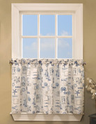 "By The Sea kitchen curtain 24"" tier"