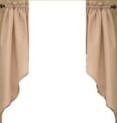 Seersucker kitchen curtain swag - Linen
