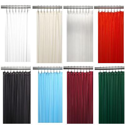 Bulk Case Pack Vinyl Shower Curtain Liner 3 gauge in white, bone, clear, red, black, light blue, burgundy, evergreen