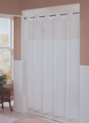 Bulk Case Pack (24 pcs) Hookless Illusion Fabric Shower Curtain - Standard Size White