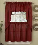 Ribcord wine kitchen curtain from Lorraine Home Fashions