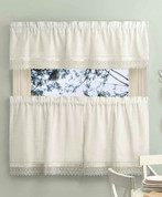 Sophia Macrame Kitchen Curtain | Ivory, White