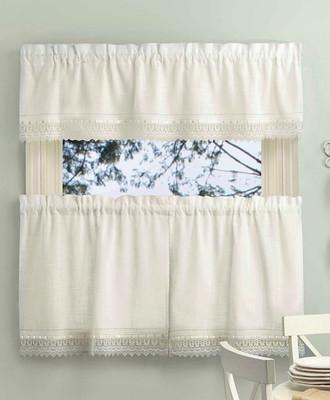 Sophia Macrame Kitchen Curtain | Ivory, White