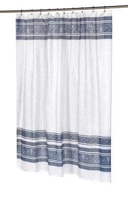 Fleur Silver - Fabric Shower Curtain
