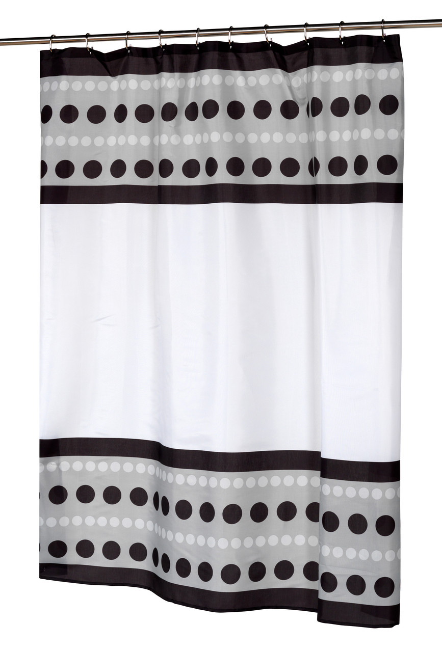 Metro Black Fabric Shower Curtain