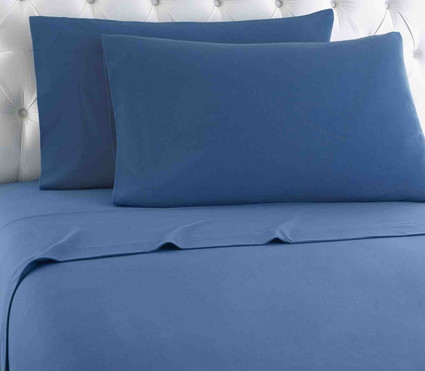 Micro Flannel Solid Sheet Set - Smokey Mountain Blue from Shavel