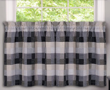 "Harvard 24"" kitchen curtain tier - Black from Achim"