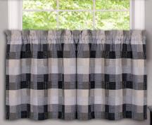 """Harvard 36"""" kitchen curtain tier - Black from Achim"""