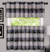 Harvard Grommet Top Kitchen Curtains - Black