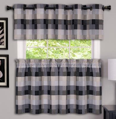 Harvard Grommet Top Kitchen Curtains - Black