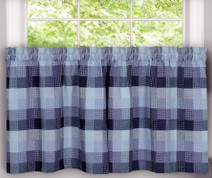 "Harvard 36"" kitchen curtain tier - Blue"