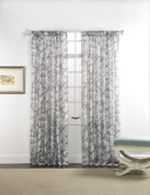 "Cecilia Printed Sheer Rod Pocket Curtain 84"" long - Smoke"