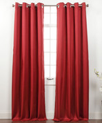 Memento Grommet Top Curtain Panel - Burgundy