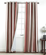 Serene striped Grommet Top Curtain Panel - Crimson from Belle Maison