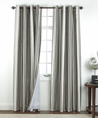 Serene striped Grommet Top Curtain Panel - Stone from Belle Maison