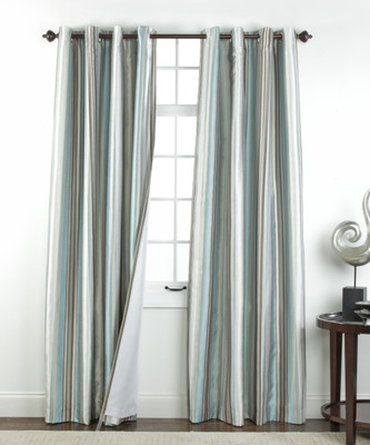 Serene striped Grommet Top Curtain Panel - Spa from Belle Maison