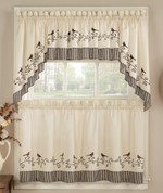 "Birds kitchen curtain 24"" tier (pr)"