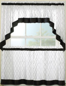 "Glendale Black kitchen curtain 24"" tier (pr)"