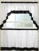 Glendale Black kitchen curtain swag (pr)