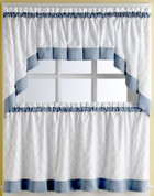 """Glendale Blue kitchen curtain 24"""" tier (pr)"""