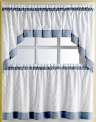Glendale Blue kitchen curtain swag (pr)