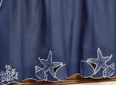 "Sanibel Seashells Blue kitchen curtain 36"" tier (pr)"