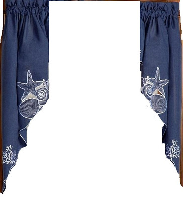 Sanibel Seashells Blue kitchen curtain swag (pr)