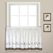 "Gingham Floral 36"" kitchen curtain tier - Taupe"