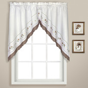 Gingham Floral kitchen curtain swag - Taupe