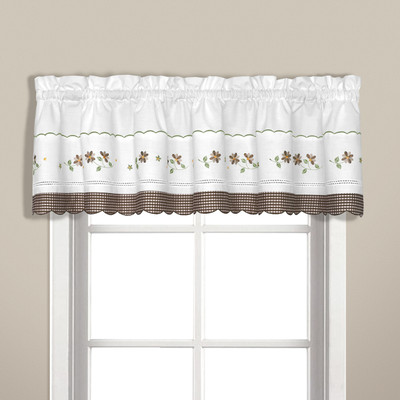 Gingham Floral kitchen curtain valance - Taupe