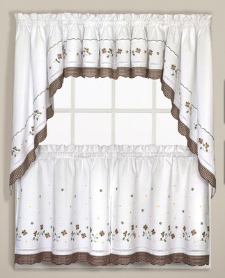 Gingham Floral Kitchen Curtain in color Taupe from United Curtain