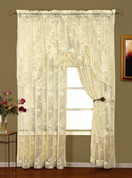 Abbey Rose Floral Lace Rod Pocket Curtains - Ivory from Lorraine Home