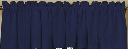 Ribcord kitchen curtain valance - Navy Blue
