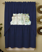 Ribcord Solid Kitchen Curtain - Navy Blue
