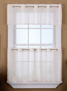 Sidney Sheer Grommet Top Kitchen Curtain tiers and valance - White