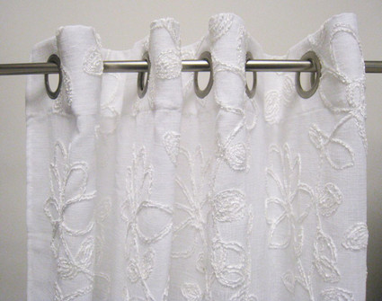 Darcy Chenille Grommet Top Curtain Panel - White